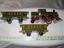 Tin Floor Toys: Strauss N0. 46 Clockwork Locomotive & 2 Passenger cars , 1920's