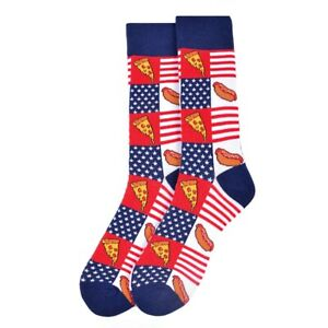 PIZZA AND HOTDOGS USA FLAG ALL OVER STYLE PAIR OF NOVELTY SOCKS