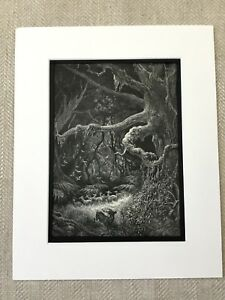 1870 Antique Print Stag Woodland Landscape Atala Chateaubriand Gustave Dore
