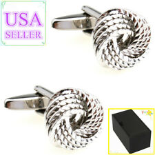 Hot Sale Men Cufflinks Four-stripe Metal Knots Cuff Links With Gift Box