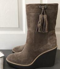 $495 Aquatalia Viola Suede Fringe Tassels Wedge Ankle Boots Sz 8.5 NIB