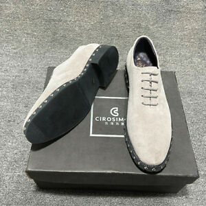 Men Real Suede Leather Casual Shoes Rivets Pointy Toe Business Formal Shoes 2021