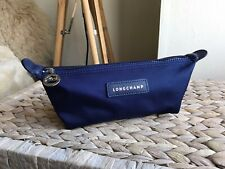 Longchamp blue small make up bag toiletry case