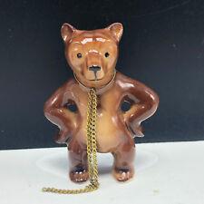 Bone China animal miniature figurine vtg hagen renaker grizzly kodiak bear chain