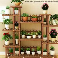 4-Tiers Flower Rack Stand Shelf Plant Pot Wooden Garden Indoor Outdoor Display
