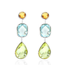14K White Gold Earrings With Citrine, Lemon And Blue Topaz Gemstones
