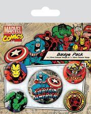 Button Badge 5er Pack MARVEL COMICS RETRO - 1x 38mm & 4x 25mm CAPTAIN AMERICA