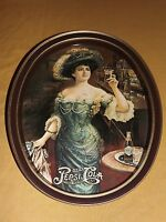"""14"""" HIGH METAL DRINK PEPSI COLA  5C YOUNG GIRL HOLDING GLASS SERVING TRAY"""