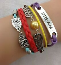 NEW Hot Retro Infinity Dream Wing Owl Leather Charm Bracelet plated Silver B002