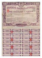 PART BENIFICIAIRE SOCIETE NAVALE DE L'OUEST 1923