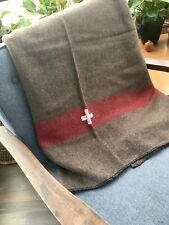 Swiss Bed Blankets Army Style Wool Chestnut Brown With White Cross And Red Cabin