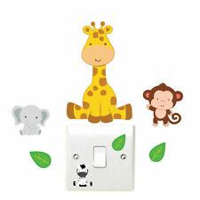 Animales de la selva Interruptor De La Luz Pared Adhesivo Jirafa Infantil Dormitorio Playroom Divertido