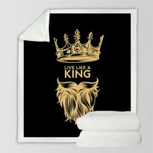 Gold Men Beard King Crown Live Sherpa Plush Throw Blanket Fleece Bed Sofa Couch