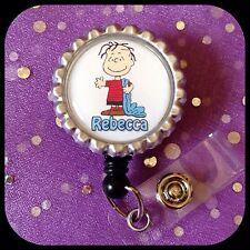 LINUS Peanuts PERSONALIZED Name Bottle Cap ID Badge Holder Lanyard Work Clip RN