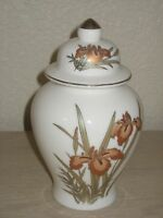 Asian Oriental Decorative Floral White Vase Urn Jar with Lid
