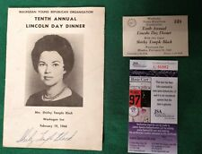 RARE SHIRLEY TEMPLE BLACK SIGNED TENTH ANNUAL LINCOLN DAY DINNER PROGRAM-JSA