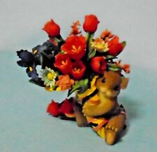 "Charming Tails ""Bouquet Of Flowers In Yellow Basket"" Figurine Fitz & Floyd"