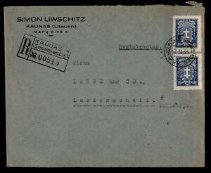 DR WHO 1933 LITHUANIA KAUNAS REGISTERED TO GERMANY  g01224