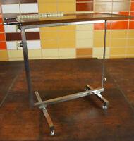 Variett Servierwagen Teewagen Tisch Beistelltisch Bar Dinett Nussbaum Chrom 70er