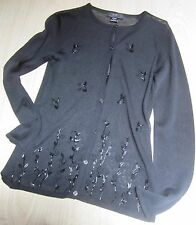 """BCBG"" Max Azria Collection Summer Sweater Black Bead & Embroidery Detail Size S"
