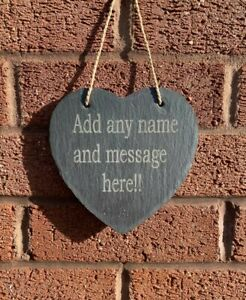 Personalised Slate Heart Sign Plaque House Warming Mothers Day Gift Any Name