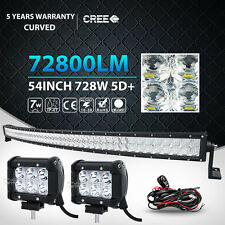 5D 54Inch 728W Curved + 2x 18W Led Work Light Bar Offroad 4WD Jeep Truck ATV 55""