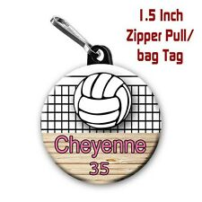 Two Personalized 1.5 Inch Volleyball Zipper Pull/Bag Tags with Name Number