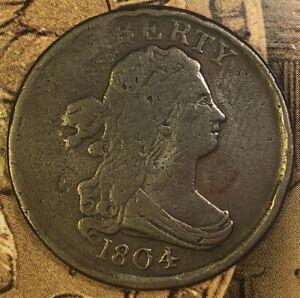 1804 Draped Bust Half Cent BN Plain 4 No Stems