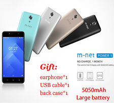 M-net Power 8GB 5050mAh Android 7.0 3G Smart Mobile Phone 5.0MP Unlocked 5.0""