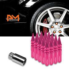 M12X1.5 Pink JDM Spiked Cap Hex Wheel Lug Nuts+Extension 20mmx123mm Tall 20Pc