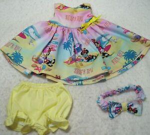"""MINNIE & DAISY SLEEVELESS SURF'S UP DRESS, PANTIES, & HEADBAND--FITS 15""""  DOLL"""