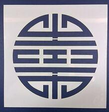 Chinese Round Symbol Reusable Mylar Stencil Template Laser Cut 100mm 10cm