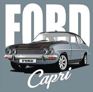 Ford Capri T Shirt Retro Vintage Car Design Tee Nostalgic Men's Gift Small - 5XL