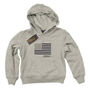 Polo Ralph Lauren Boys Grey Embroidered USA Flag Terry Pullover Hoodie