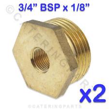 """2x BSP 3/4"""" x 1/8"""" BOCCOLA DI RIDUZIONE RAME OTTONE NIPPLO MISURATORE DI GAS"""