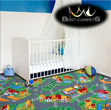 CHILDREN'S CARPET LITTLE VILLAGE Street Town Kids Play Area Bedroom Rug ANY SIZE