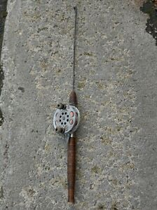Antique Pre-max Steel Shaft Rod Reel Combo Taxi Style Reel Shortie Ribbed WOOD