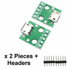 2 PCS MICRO USB to DIP Adapter 5pin female connector B type + header pins