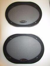 "NOS PAIR (2) 6"" x 9"" POWERBASS CAR AUDIO SPEAKER GRILLS-COVERS-POWER BASS"