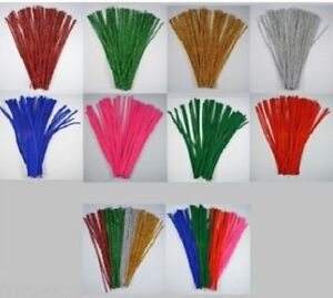 """100 CHENILLE CRAFT STEMS / PIPE CLEANERS 12"""" LONG - 8 COLOURS"""