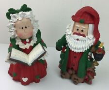 "Christmas Santa Mrs Claus Holiday Decor 10"" Book Slippers Candle Red Green"