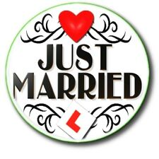 "JUST MARRIED/ NEWLYWEDS/ HONEYMOON/WEDDING DAY... 25 mm (1"") BUTTON BADGE"