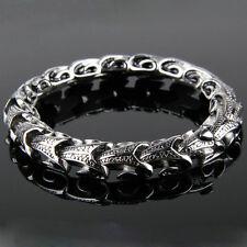 "Skin Chain Link Stainless Steel Bracelet 8.3"" Men's Vintage Punk Snake Serpent"