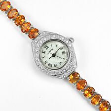 Sterling Silver 925 Stunning Orange Topaz and Cubic Zirconia Watch 7.25 Inches
