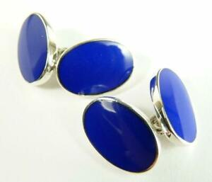 CATORS - Sterling Silver - Large Oval Lapis Double Sided Cufflinks