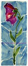 Purple Flower Solitaire w Blanchd Sky ORIGINAL WATERCOLOR PAINTING impressionist