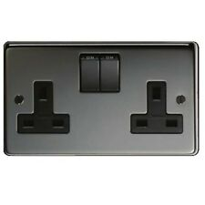 13a DOUBLE SOCKET OUTLET POLISHED BLACK NICKEL FreePost