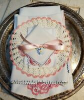 Vintage Blooming Linen and Scrap Bundle - 7+ Pieces for Cutting and Crafting