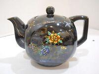 Vintage Porcelain Made in Japan Teapot w/ lid black brown flowers floral gold