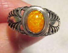 Orange Ethiopian Welo Opal Ring in 925 Sterling Silver sz 9